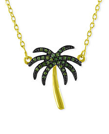 Diamond Palm Tree Pendant Necklace (1/10 ct. t.w.) in 14k Gold-Plated Sterling Silver