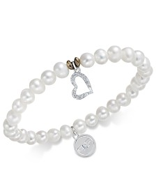 Paul & Pitü Naturally Two-Tone Freshwater Pearl (7mm) and Crystal Heart Stretch Bracelet