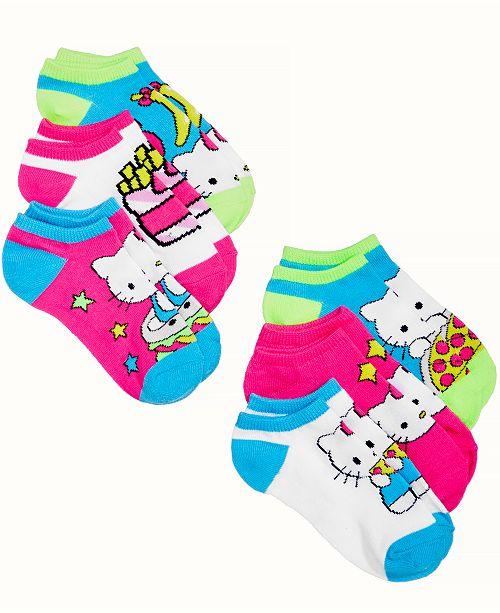 51467b3ee Angry Birds Hello Kitty Princess 6-Pack No-Show Socks, Little Girls ...