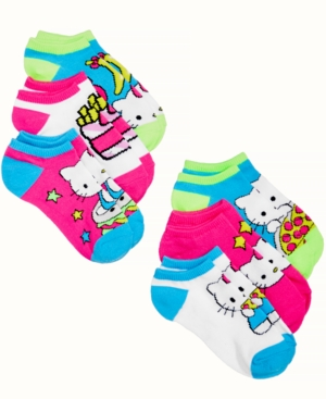 Hello Kitty Princess 6Pack NoShow Socks Little Girls (46X)  Big Girls (716)