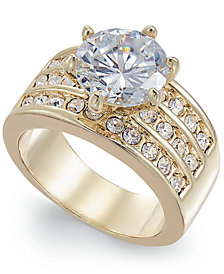 Charter Club Gold-Tone Crystal Triple-Row Ring, Created for Macy's