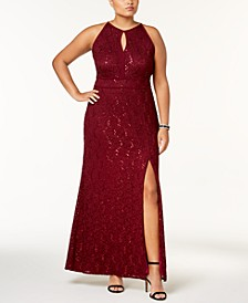 Trendy Plus Size Lace Keyhole Gown