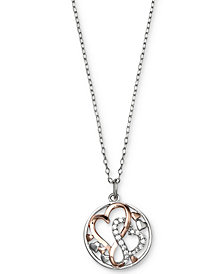 Giani Bernini Cubic Zirconia Intertwining Hearts Pendant Necklace in Sterling Silver and 18k Rose Gold-Plate, Created for Macy's