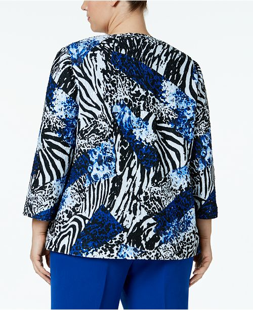 284142df247 Alfred Dunner Plus Size High Roller 3 4-Sleeve Printed Jacket ...