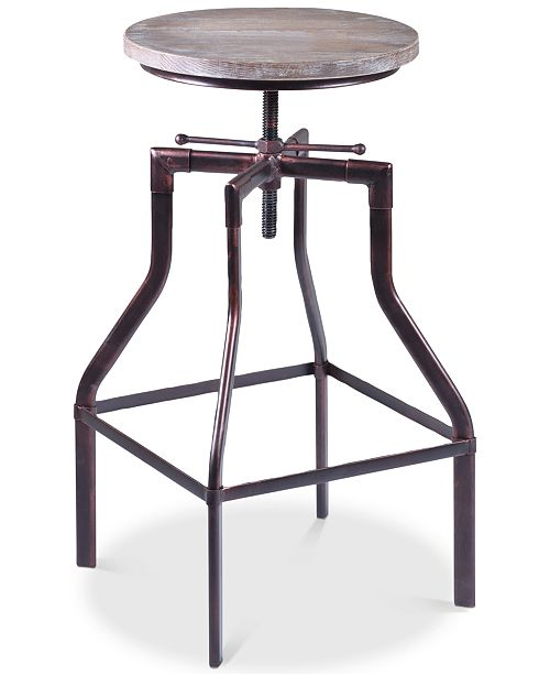 Armen Living Concord Adjustable Barstool in Industrial Grey Finish with Pine Wood Seat