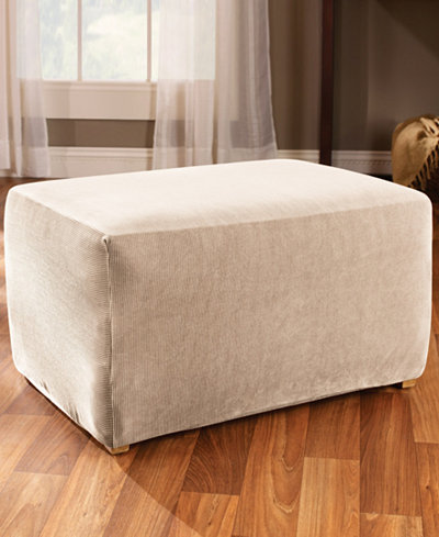 Sure Fit Stretch Stripe Ottoman Slipcover - Sure Fit Stretch Stripe Ottoman Slipcover - Slipcovers - For The