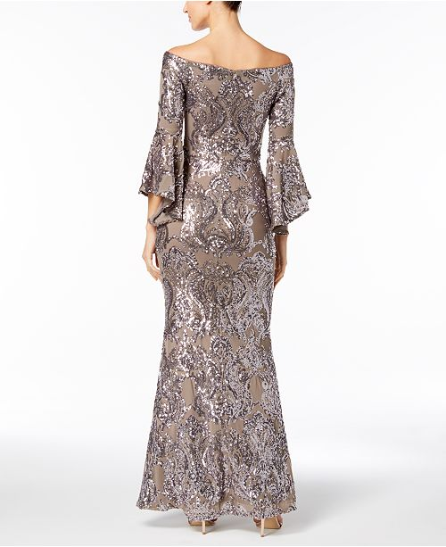 Betsy Amp Adam Sequined Off The Shoulder Gown Dresses