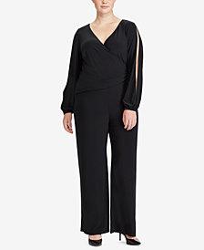 Lauren Ralph Lauren Plus Size Wide-Leg Jersey Jumpsuit