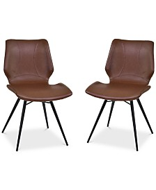 Zurich Dining Chair in Vintage Gray Faux Leather and Black Metal Finish - Set of 2