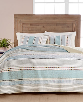 Cotton Earth Tone Stripe King Quilt, Created For Macy's by Martha Stewart Collection