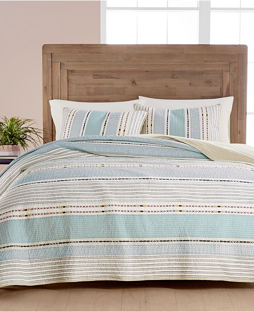 Martha Stewart Collection Cotton Earth-Tone Stripe King Quilt, Created for Macy's