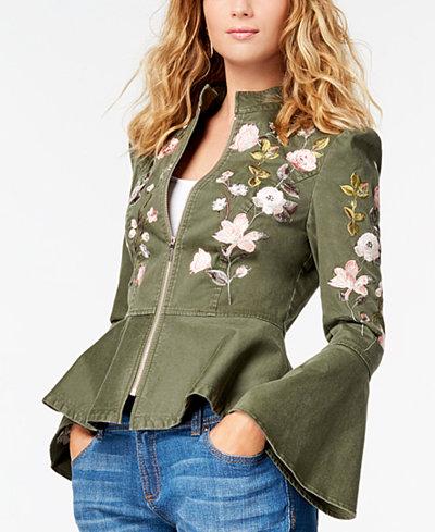I.N.C. Embroidered Peplum Jacket, Created for Macy's