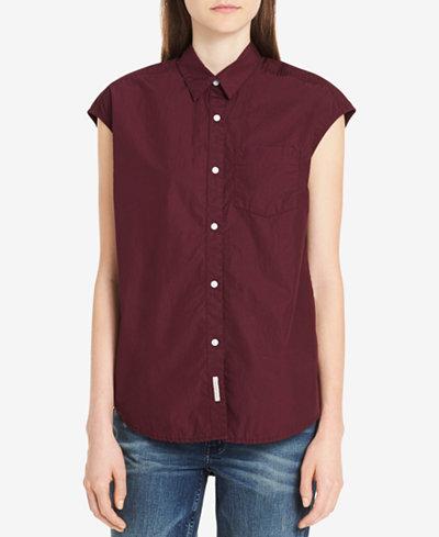 Calvin Klein Jeans Cotton Cap-Sleeve Shirt