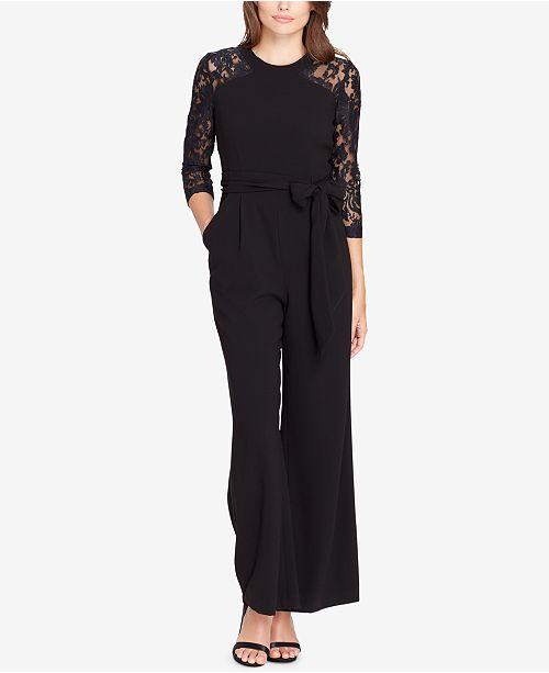 ec6057416466 Tahari ASL Lace-Sleeve Jumpsuit   Reviews - Pants   Capris - Women ...