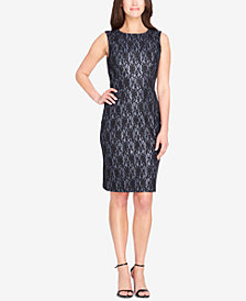 Tahari ASL Metallic Lace Sheath Dress