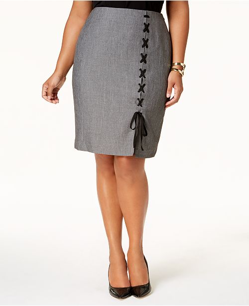 bf54cf7589d Nine West Plus Size Lace-Up Skirt   Reviews - Skirts - Women - Macy s
