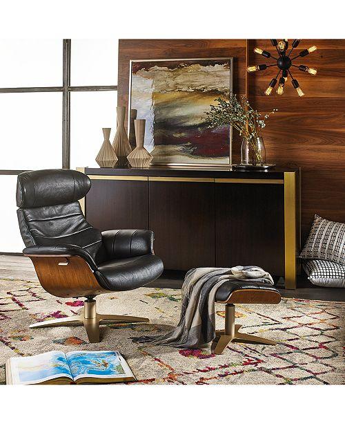 Annaldo Leather Swivel Chair & Ottoman Collection