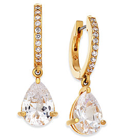 kate spade new york Crystal Huggie Hoop Drop Earrings