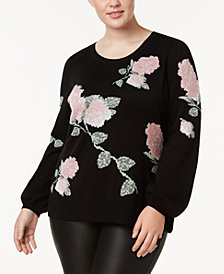I.N.C. Plus Size Metallic-Knit Floral-Print Sweater, Created for Macy's