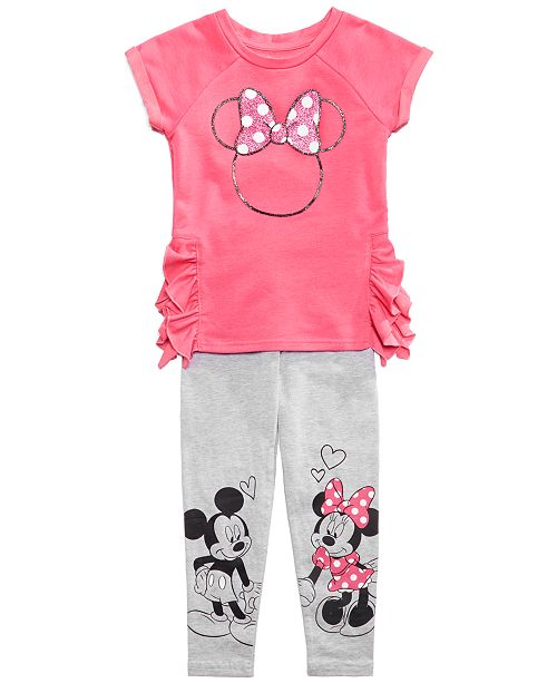 d38774c2ab740 ... Disney Mickey & Minnie Mouse 2-P.C. Leggings Set, Toddler Girls ...