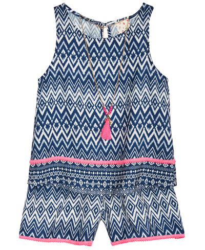 Belle Du Jour 2-Pc. Geo-Print Tank Top, Shorts & Necklace Set, Big Girls