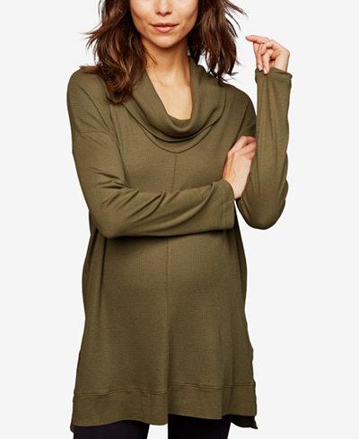 Splendid Maternity Jersey Cowl-Neck Top