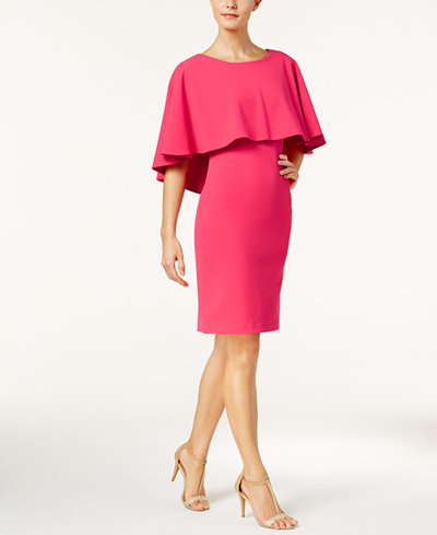 Calvin Klein Popover-Cape Sheath Dress, Regular & Petite