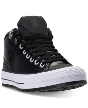 Men'S Chuck Taylor All Star Street Mid Leather Casual Sneakerboots From Finish Line, Converse Black