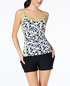 GO by Gossip Graphic Content Geo Printed Tankini Top & Boyshort Swim Bottoms