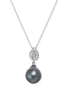 Cultured Tahitian Black Pearl (10mm) & Diamond Accent Pendant Necklace in 14k White Gold (Also in White Cultured Pearl)