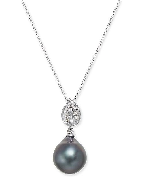 58f49dd79 Macy's Cultured Tahitian Black Pearl (10mm) & Diamond Accent Pendant  Necklace in 14k White