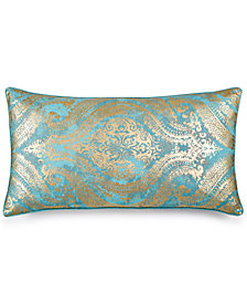 "LAST ACT! Lacourte Elisa Faux-Linen Metallic-Print 14"" x 28"" Decorative Pillow, Created for Macy's"