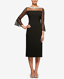 Alex Evenings Petite Embellished Illusion Dress