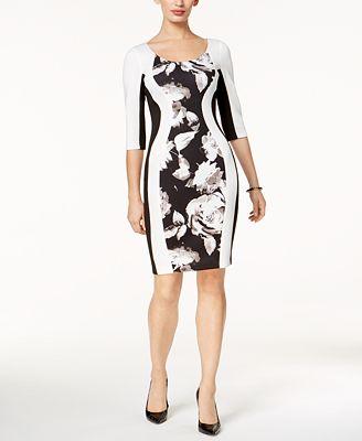 Sangria Floral-Inset Bodycon Dress, Regular & Petite Sizes