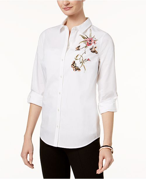 Petite Cotton Embellished Shirt, Created for Macy's
