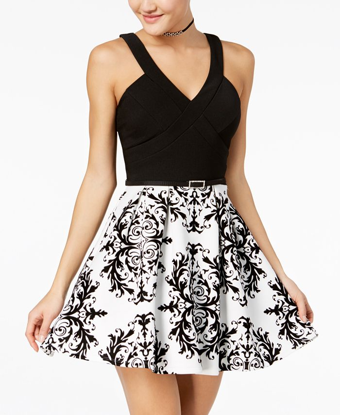 Crystal Doll - Juniors' Flocked Fit & Flare Dress