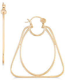 SIS by Simone I. Smith Oval and Triangle Hoop Earrings in 14k Gold over Sterling Silver