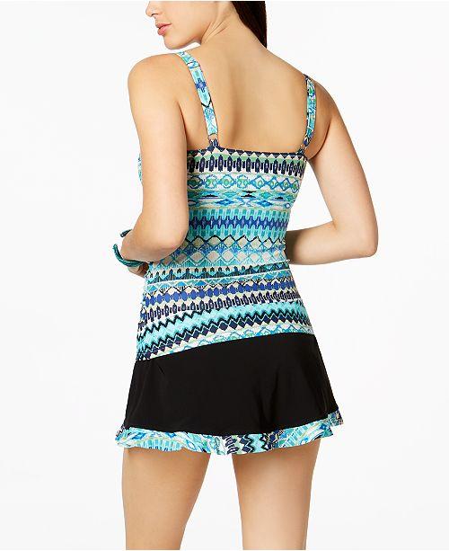 9694905ab3f40 Profile by Gottex Buena Vista Printed D-Cup Underwire Tankini Top & Swim  Skirt ...
