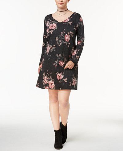 BCX Trendy Plus Size Lace-Up-Back Dress