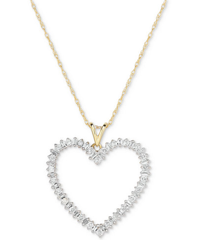 Diamond Heart Pendant Necklace (1/2 ct. t.w.) in 14k Gold