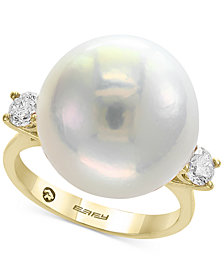 Pearl by EFFY® Cultured Freshwater Pearl (15-1/2mm) & Diamond (3/8 ct. t.w.) Ring in 14k Gold