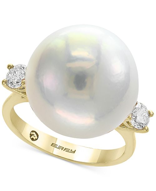 EFFY Collection Pearl by EFFY® Cultured Freshwater Pearl (15-1/2mm) & Diamond (3/8 ct. t.w.) Ring in 14k Gold