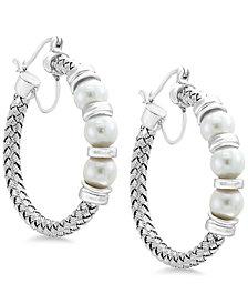 Pearl by EFFY® Cultured Freshwater Pearl (6mm) Hoop Earrings in Sterling Silver