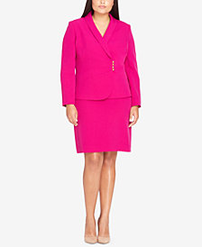 Tahari ASL Plus Size Asymmetrical-Front Skirt Suit