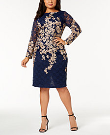 XSCAPE Plus Size Metallic Lace Dress