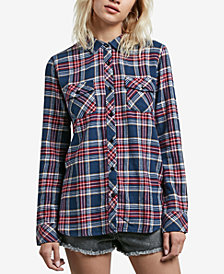 Volcom Juniors' Street Dreaming Plaid Button-Front Shirt
