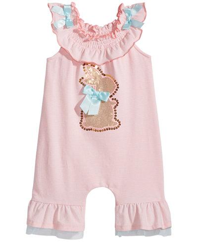 Bonnie Baby Striped Bunny Romper, Baby Girls