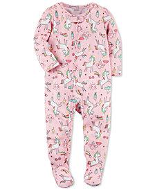 Carter's Unicorn-Print Footed Pajamas, Baby Girls