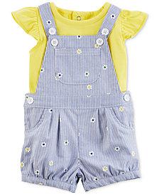 Carter's 2-Pc. Flutter-Sleeve Cotton Bodysuit & Overall Set, Baby Girls