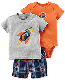 Carter's 3-Pc. Cotton Bodysuit, T-shirt & Shorts Set, Baby Boys